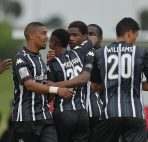 Ritchi Sebastiao of Vasco da Gama celebrates goal with teammates during the National First Division 2015/16 Football match between Vasco da Gama and Santos at Parow Park, Cape Town on 30 August 2015 ©Chris Ricco/BackpagePix