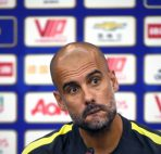 Manchester City's head coach Pep Guardiola reacts as he prepares to answer a question during a press conference in Shenzhen, south China's Guangdong province on July 27, 2016, ahead of the International Champions Cup football match between Manchester City and Borussia Dortmund. / AFP / WANG ZHAO        (Photo credit should read WANG ZHAO/AFP/Getty Images)