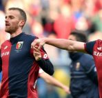 06 Mar 2016, Genoa, Genova Province, Italy --- epa05198171 Genoa's Italian midfielder Luca Rigoni (L) and Argentinian defender Cristian Daniel Ansaldi celebrate after their team's victory in the Italian Serie A soccer match Genoa Cfc vs Empoli Fc at Luigi Ferraris Stadium in Genoa, Italy, 06 March 2016. EPA/SIMONE ARVEDA --- Image by © SIMONE ARVEDA/epa/Corbis
