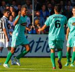 Voetbal : Groesbeek : Achilles 29 - Fc Dordrecht : Jupiler League 2013/2014 : Erixon Danso (FcDordrecht) viert de 0-1
